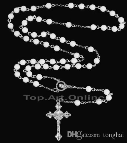 Fashion Blanc Chapelet Perles Pendentif Croix Long Perles Chaîne Collier Nouveau