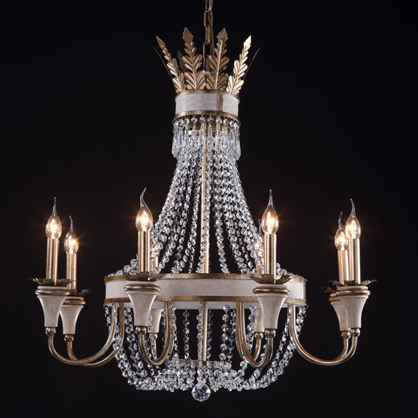 Vintage Retro Crystal Chandelier Lamps Wrought Iron French Stylish Large Crystal Chandelier Lighting For Hotel Lobby Living Room