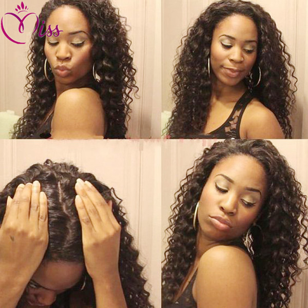 150 Density Deep Curly Lace Front Wigs Mongolian Hair Wig For Black Women Bleached knots Full Lace Wigs With Baby Hair