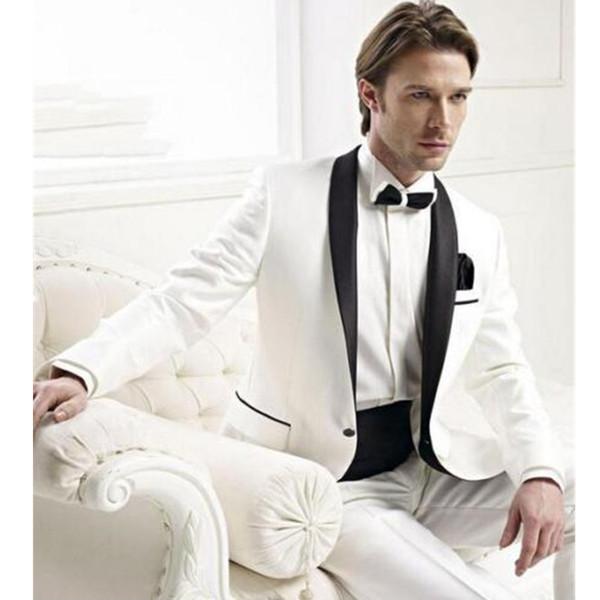 Bespoke Men Wedding Groom Tuxedos Groomsmen Best Man Suit Shawl Lapel Men Tuxedo chinese collar suit 2 pieces (jacket + pants)