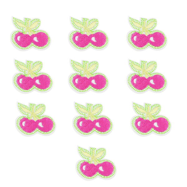 10PCS pink cherries embroidery patches for clothing iron patch for clothes applique sewing accessories badge stickers on cloth iron on patch