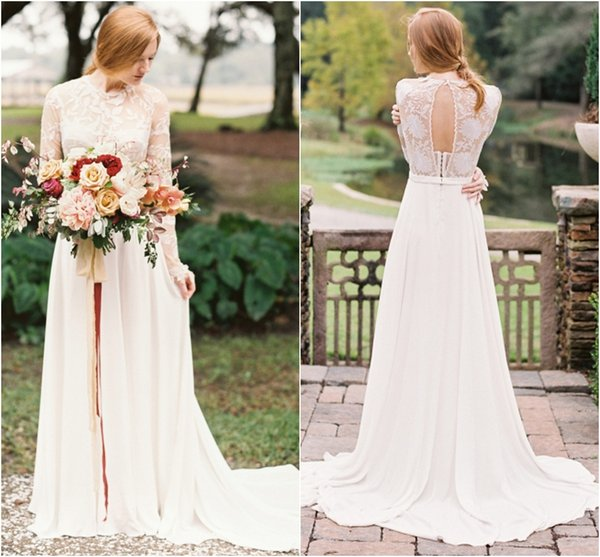 Discount Long Sleeve Keyhole Back Wedding Dresses Illusion Lace Top ...