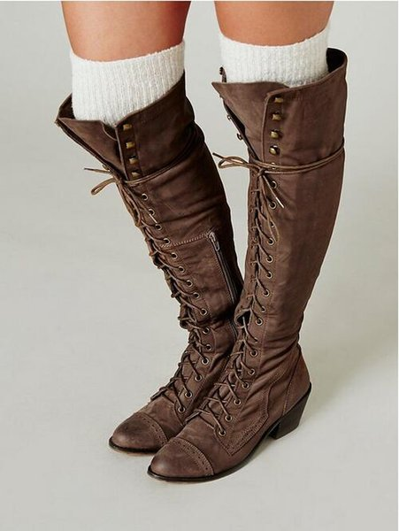 Cheap Jeffrey Campbell Joe Lace Up Knee High Boots Black/Brown ...