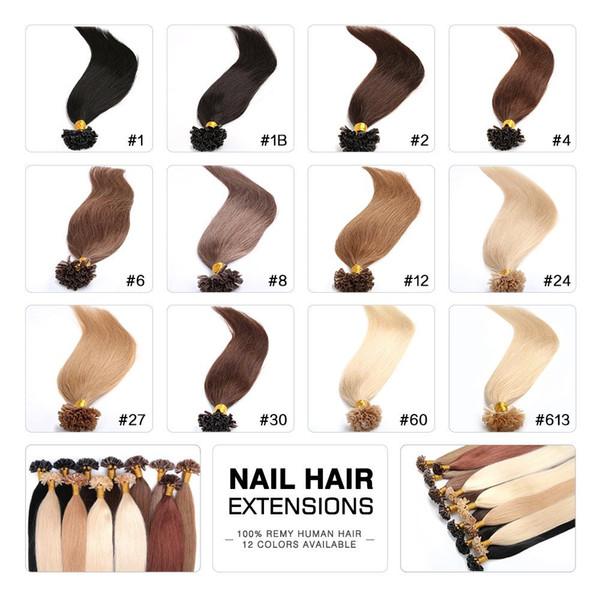 Ipeksi Düz 100g Prebonded İtalyan Keratin Nail İpucu U İpucu Fusion Hint Remy İnsan Saç Uzantıları 100 ipliklerini 16