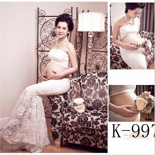 Venta caliente de maternidad blanca accesorios de fotografía ropa vestido conjunto de cola de pescado vestido ropa de mujer vestidos embarazadas para el embarazo por la noche