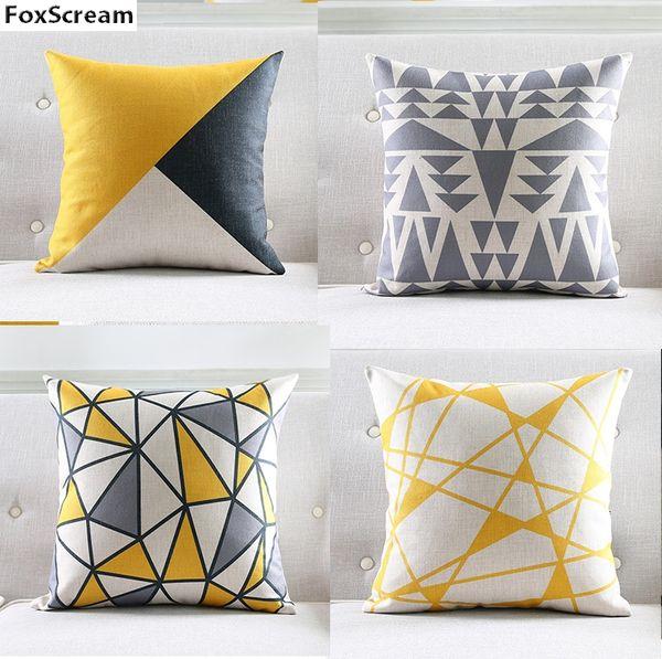 Nordic Decorative Throw Pillows Case Geometric Gray Cushion Cover Home Decor Yellow Lattice Chair Couch Pillowcase For Sofa