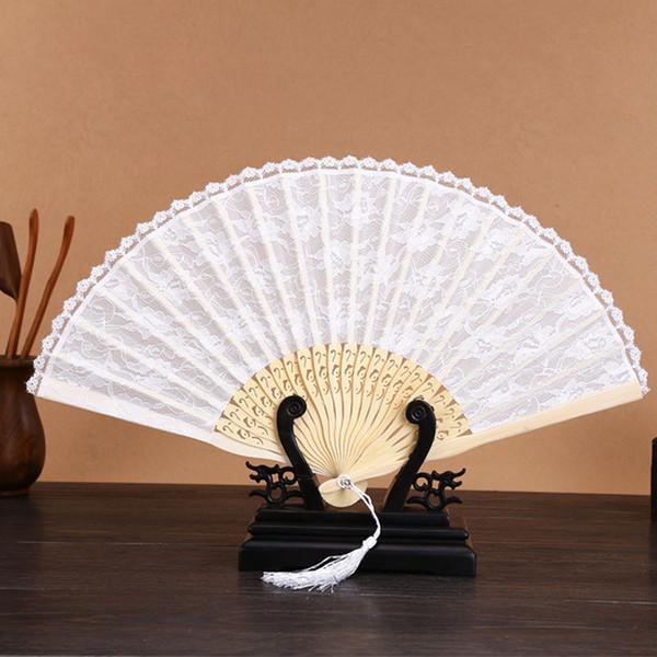 Bambou Blanc Noir Mode Vintage Dentelle Espagnole Décoration Mariage Fête De Mariage Cadeau Main Fan Livraison Gratuite ZA4967