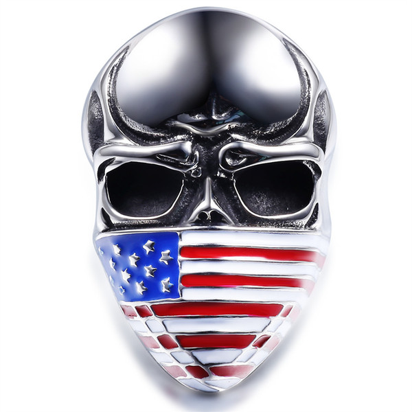Fashion American flag masked skull titanium stainless steel men's ring casting black drip locomotive club ring free shipping