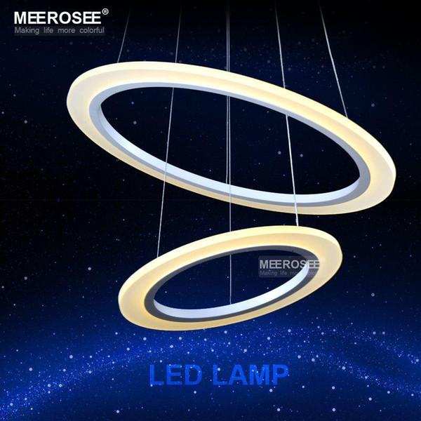 2 Ringe Kreis LED Pendelleuchte Weiss Rahmenaufhngung Lampe Acryl Hngende Glanz Fr Wohnzimmer Esszimmer Anhnger