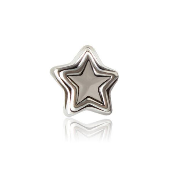 30pcs European Silver Plated Big Hole Charms Loose Beads Fit Pandora Bracelets 925 Jewelry Five-pointed Star for Sale Girls Mom Handmade Diy