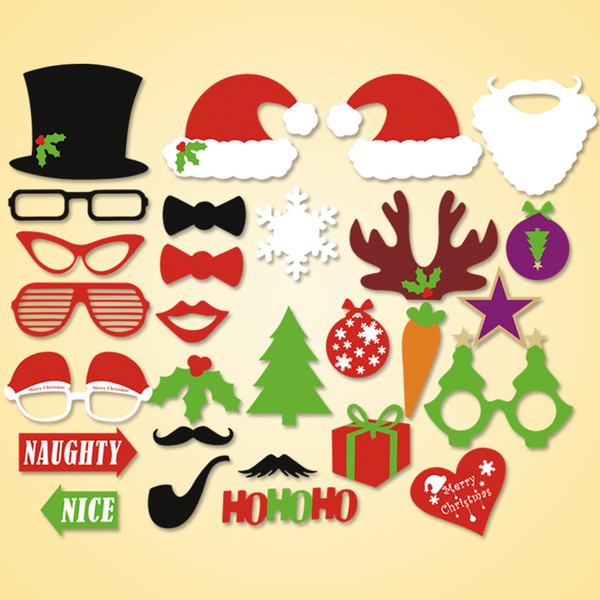1set 28pcs Christmas party Photo Props Moustache Hat Small Eyes Paper Beard Wedding Party Supplies Bachelorette Party Photo Booth