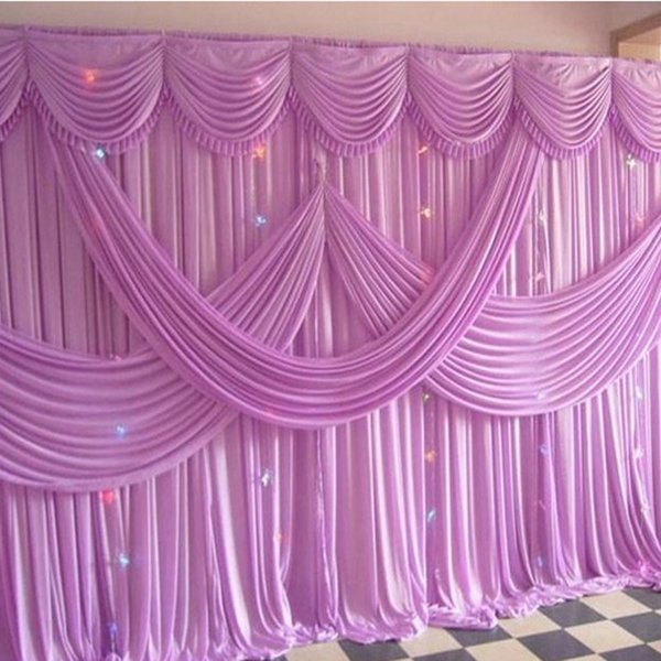 3M*6M Ice Silk wedding backdrop curtains with swag wedding drapes Luxury wedding stage backdrop Props wedding Decorations