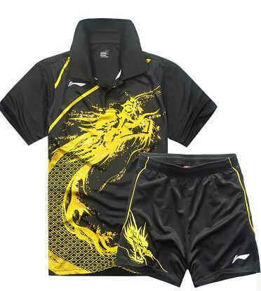 Hot Li Ning badminton tênis de mesa homens roupas de manga curta T-shirt, roupas masculinas de tênis (camisa + shorts), de secagem rápida