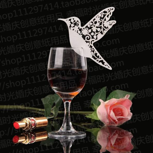 New 2016 White Bird Place Name Card Escort Card Cup Card Wine Glass Card Seat Card For Wedding Party Favors Table Decorations supplies