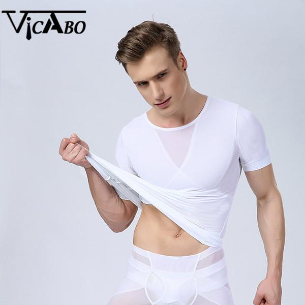 Wholesale-Men's Waist Training Compression Slimming Lift Body Shaper Belt Lose Weight Underwear Stretchy Shapewear Suits Corset For