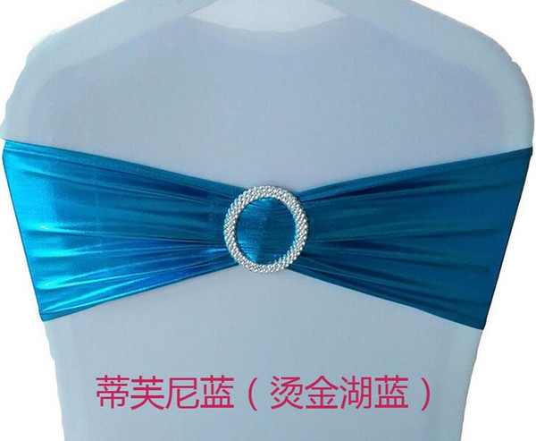 50pcs/lot Spandex Lycra Wedding Chair Cover Sash Bands Wedding Party Birthday Banquet Chair Decoration Bronzing Elastic Bow Sashes 9 Colors