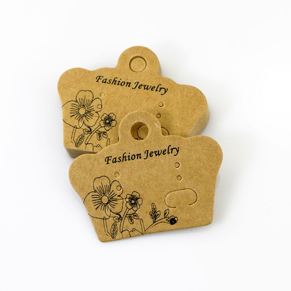 100pcs 5*4cm DIY Jewelry Display Thick Kraft Paper Card Cute Stud Earring Packing Card Christmas Gifts Cards