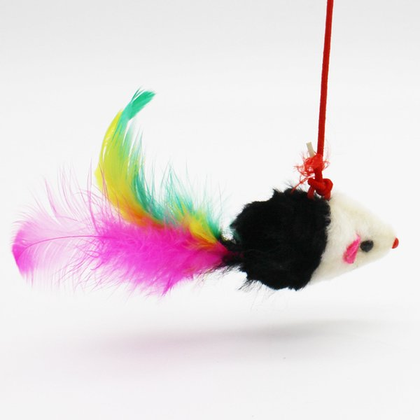 Tease Cat Pole Toy Cartoon Mouse Fishing Style Plaything Plush Feather Catcher Funny Pet Supplies Hot Sale 2gf H R