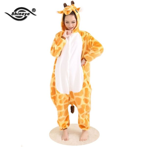 Wholesale-Shineye Giraffe Unisex Adult Flannel Hooded Pajamas Cosplay Cartoon Cute Animal Onesies Sleepwear For Women Men