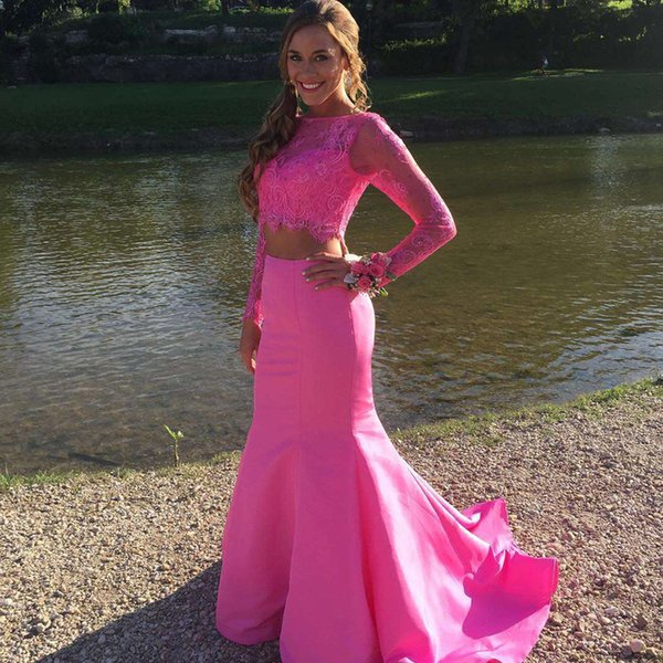 Sexy Red Mermaid Prom Dresses 2017 Bateau Long Sleeves Lace Satin Backless Fuchsia Graduation Dresses Two Pieces Evening Gowns Sweep Train