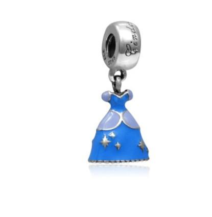 Fits Pandora Sterling Silver Bracelet S925 Cinderella skirt Dangle Beads Charms For European Snake Charm Chain Fashion DIY Jewelry Wholesale