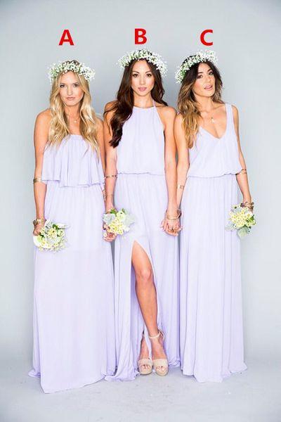 2019 wunderschöne lila lange Brautjungfernkleider Rüschen Mumu böhmischen bodenlangen Sommer Strand Hochzeit Abendkleider Brautjungfer Kleid