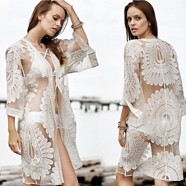 2017 New Bikini Beach Cover Ups Women Sexy Summer Lace Cardigan Blouses Vacation Shirts Hollow Out Crochet Bohemian Beachwear Swimwear Tops