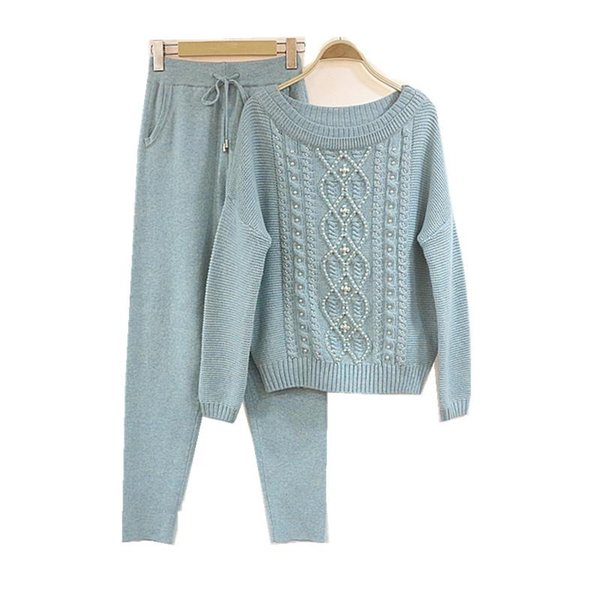 Women's cashmere knit suit High-end heavy industry Pearls Nail beads Wool knitted lapel sweater + trousers Two-piece women