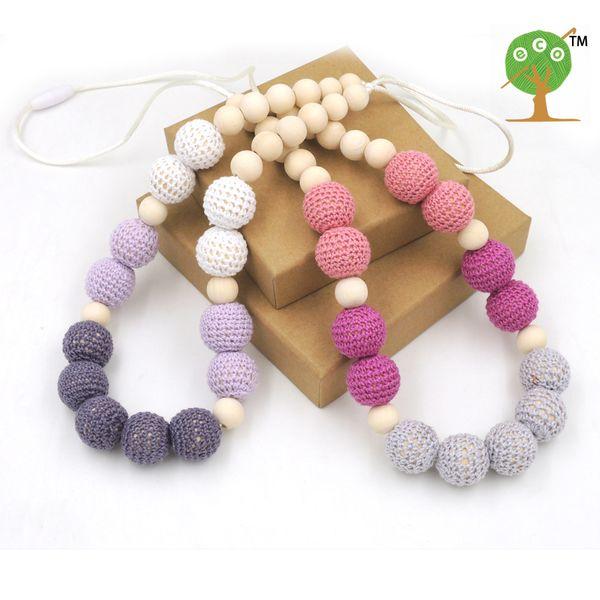 2PCS SALE safe STATEMENT necklace SHADE Grey crochet beads wooden Crochet Nursing teether baby toy EN32