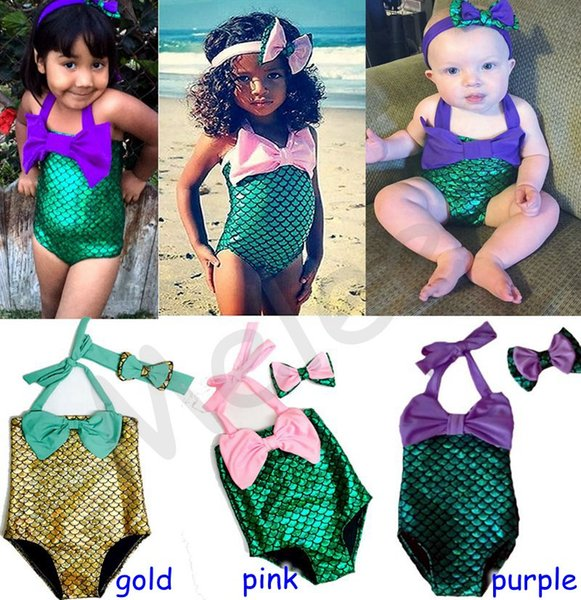 top popular 2016 New Girls Mermaid Swimwear Kids Swimming Bikinis Set Two Pieces Baby Girls Bathing Suit Baby Girls Mermaid Swimwear Bathing Suit 2021