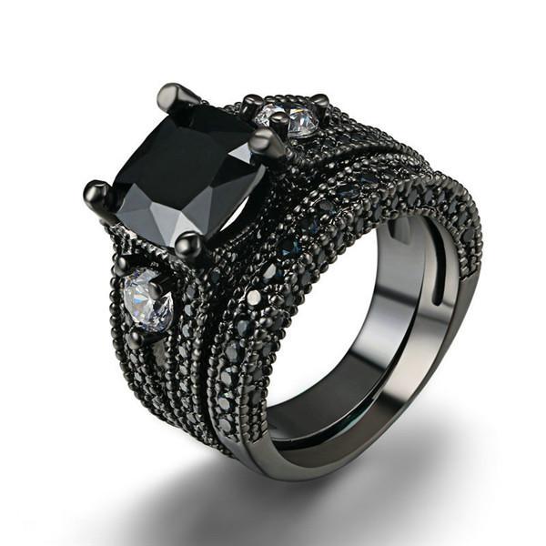 bague diamant or noir