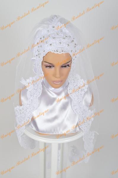 2016 Muslim Wedding Veils with Crystals Rhinestones and Lace Appliques Edge Short Bridal Hijab Custom Made