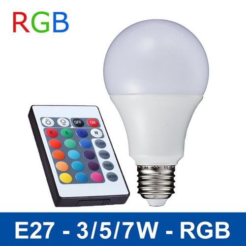 3W 5W 7W LED Light Bulbs SMD5050 E27 Smart RGB Bulbs 16 Colors Lamps For Home Bars KTV Cafes Halls Party Festivals Decoration