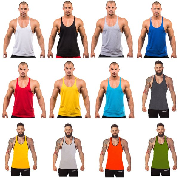 12 Colors Cotton Stringer Bodybuilding Equipment Fitness Gym Tank Top shirt Solid Singlet Y Back Sport clothes Vest Free Ship A-0383