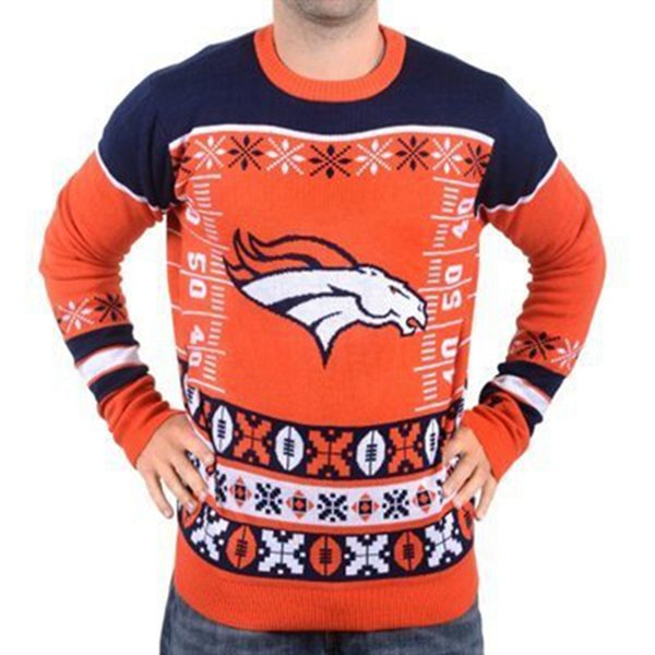 Wholesale-Man Busy Block Ugly Sweater Denver Patche Crew Neck American Football Style Winter Pullovers Sweaters M-2XL Free Shipping