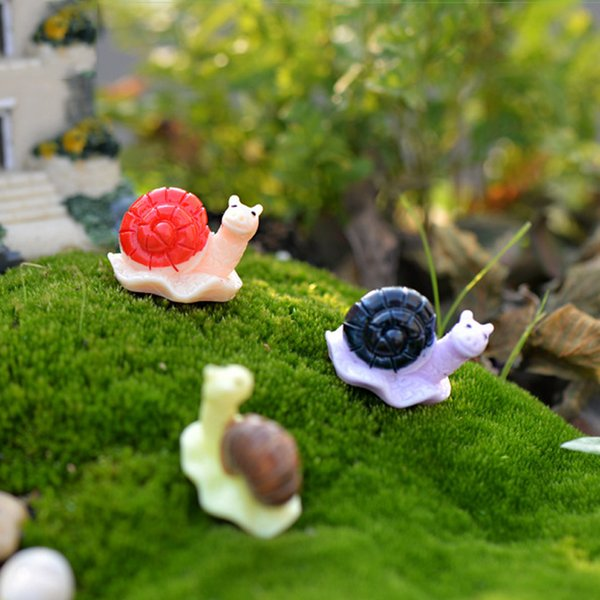 10pcs Snails Figurines Resin Crafts Fairy Garden Miniatures Bonsai Tools terrarium Zakka Jardin Gnomes Microlandscape Home Decor Accessories