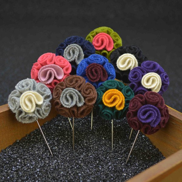 New fashion men brooch flower lapel pin for suit boutonniere fabric Felt cloth pin button Stick brooches pin for wedding