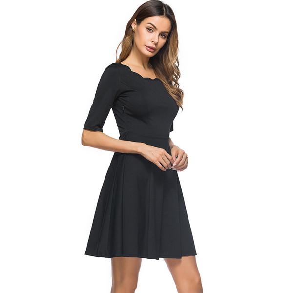 Elegant Women Vintage Solid Swing Dress Vestidos Scalloped Neck Half Sleeve Stretchy Casual A-Line Skater Dress Short