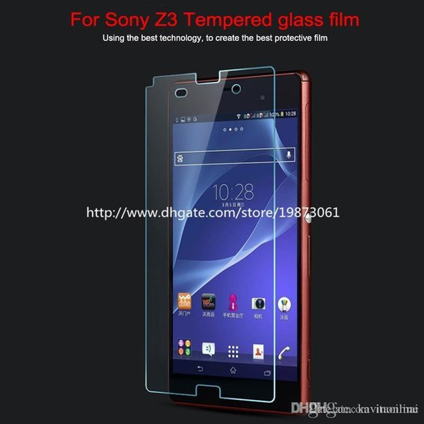 0.3 mm para Sony xperia Z3 Z2 Z Z1 M4 E4 T3 Premium Película de cristal templado protector de pantalla a prueba de explosiones con la venta al por menor