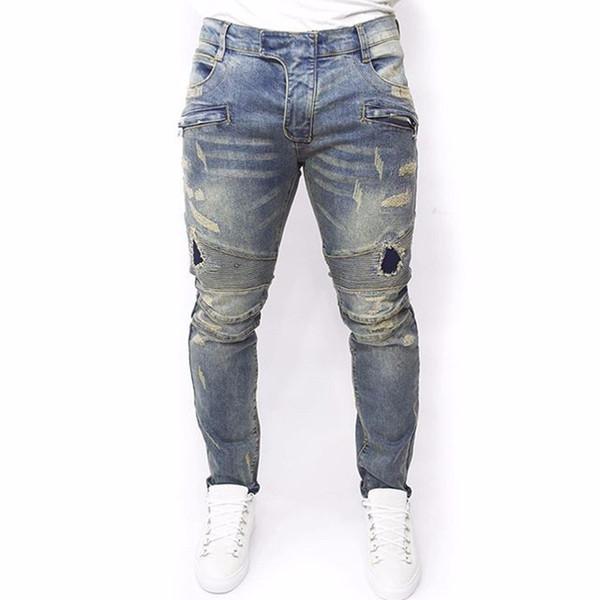 Plus größe 2016 neue männer marke clothing casual herren jeans dünne dünne biker jeans denim lange hosen zerrissene jeans homme