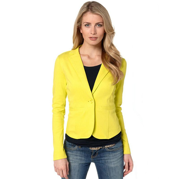 Señoras Blazer Amarillo Feminino Plus Size Chaqueta Formal Mujer Blaser Rosa Mujer Azul Traje Mujer Oficina Ropa