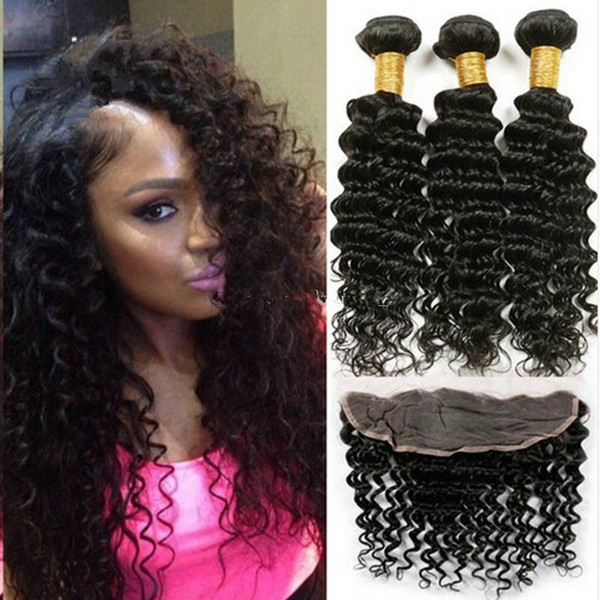 Hot Sale 13x4 Ear to Ear Lace Frontal Closure With Bundles 4Pcs Lot Brazilian Human Hair Deep Curly Wave With Full Lace Frontal