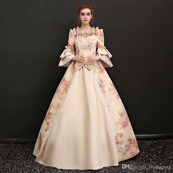 Hot Sale 2017 Champagne Square Neck 3/4 Flare Sleeve Printed Pattern Victorian Stage Long Dresses For Women