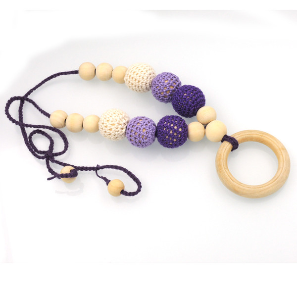 Hot Sale purple gradiant teething Nursing necklace, Babywearing , Baby teether toy, crochet beads Baby toy NW2103
