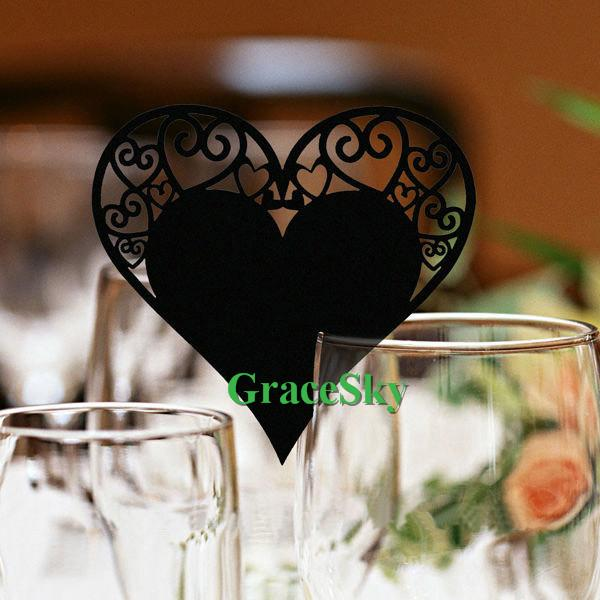 60PCS/lot Free Shipping Laser Cutting Multiple Love Heart Shaped Wine Glasses Place Seat Name Cards for Paper Wedding Party Decorations