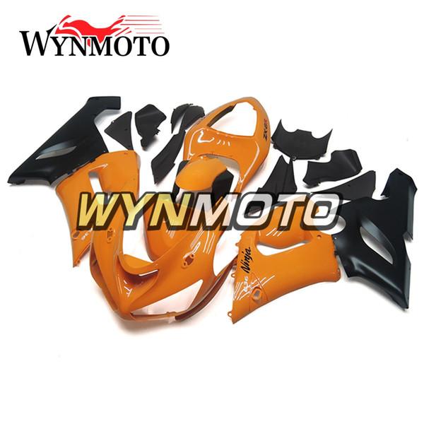 Nuove coperture per bici sportive Orange Black per Kawasaki ZX-6R ZX6R 05 06 2005 2006 Kit per carene motociclistiche per iniezione plastica plastificata ABS