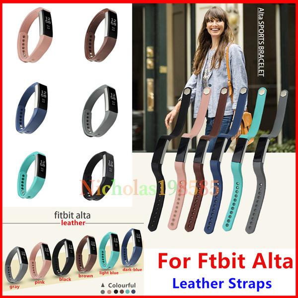 Best Fitbit Alta ALta HR Leather Straps Band Wristband Smart Bracelet Wrist  Strap For Fitbit Alta Smart Watch No Tracker L/S Size Strap Leather