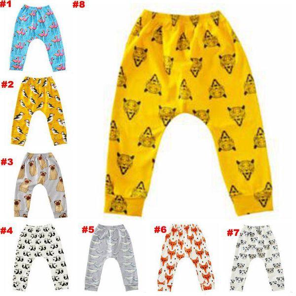 Baby Flamingos Leggings Animal Printed Haroun Pants Cartoon PP Pants Fox Penguin Collant Moda Casual Pantaloni Abbigliamento per bambini