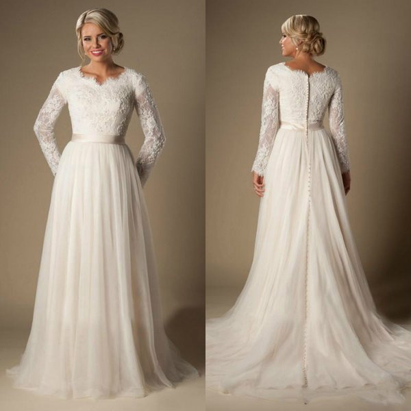 Discount Vintage Lace Long Sleeve Simple Wedding Dresses Winter Plus Size  Illusion Tulle 2018 Train Vestido De Noiva Bridal Gown Ball For Bride A  Line