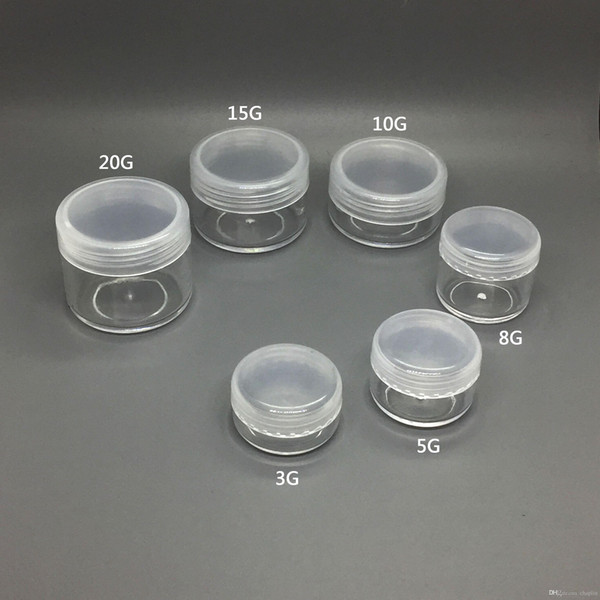 3 5 8 10 15 20 ML Round Clear Empty Plastic Container Jars Screw Cap Lid for Cosmetic Cream Pot Makeup Eye Shadow Nails Powder